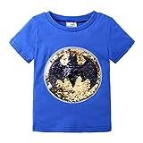 Superman Flip Sequin Magic Camiseta de algodón de Manga Corta Camisetas Tops niños niños (130, Azul)