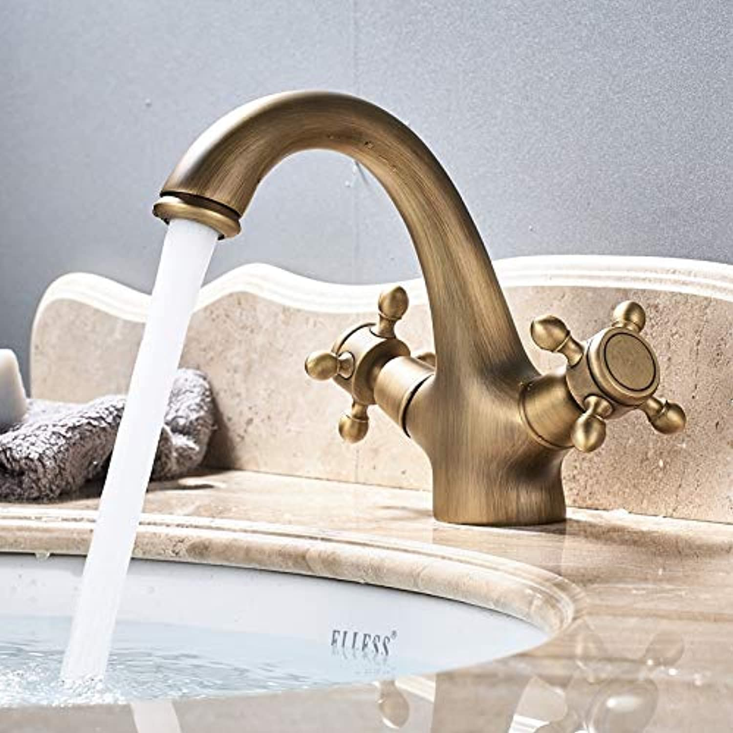 Decorry Antique Brass Basin Faucet Bathroom Mixer Tap Bathroom Brass Bathroom Single Handle Single Hole Classic Stylish Water Tap
