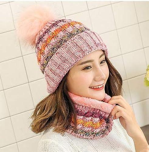 AHIMITSU Charhommet Chapeau de Laine écharpe Hiver Chaud Doux Costume de Bavoir Hiver Mode Mignon (Couleur  Rose) pour l'hiver