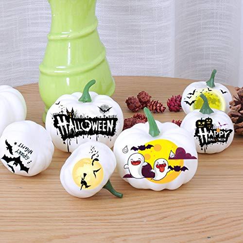 12pcs Halloween White Artificial Pumpkins Harvest Fall Thanksgiving Home Decorations
