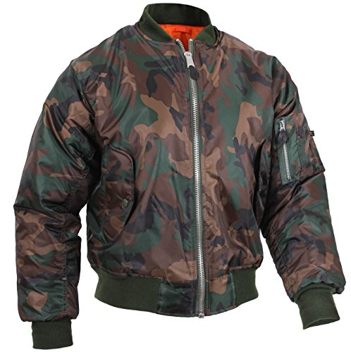 Rothco MA-1 Flight Jacket, Woodland Camo, XL
