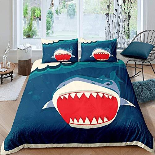 Anvvsovs 3D Bedding Set Children Duvet Cover Set Pillowcase Cartoon Bed Single Size 135 X 200 Cm Bedding Sets Bedclothes Bed Linen + 2 Pillowcase 50 X 75 Cm - Blue Sea Animal Shark