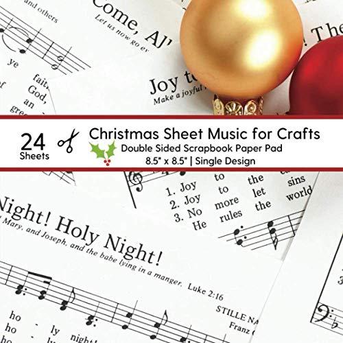 Christmas Sheet Music for Crafts: 25 Sheets Holiday Carols Scrapbook Paper