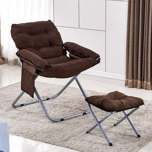 Hmg Creative Lazy Sofá Plegable Sala de Estar Sofá Individual Silla Tatami Lounge Chair con reposapiés (café) (Color : Coffee)