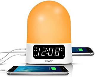 Sharp 43213-14176 Sunrise Simulator Alarm Clock with Blue Tooth Or USB ports White