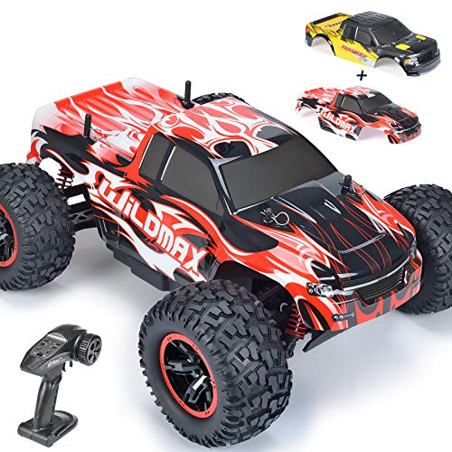 1:10 Large Remote Control Car, INGQU 45+KM/H High Speed Off Road Remote Control Monster Truck, All Terrain Waterproof Racing RC Cars, 2.4GHz 4WD Electric Vehicle for Boys, Toys for Kids & Adults (Red)