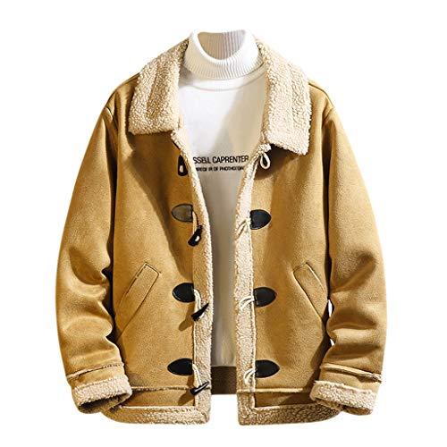 Aoogo Herren Herbst Jacket Slim fit Sweatjacke Pullover Zipper Langarm Hoodie Mantel Winter Kapuzenpullover Herren lässig einfarbig lose Lammfell Stehkragen Mantel