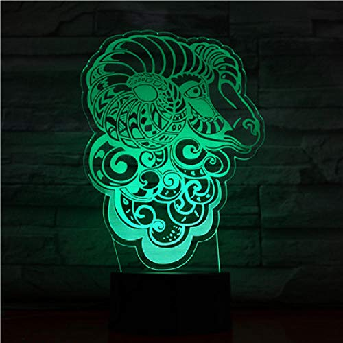 Goat head-3D LED Night Light,3D Optical Illusion Visual Lamp 7 Colors Gradual Smart Touch Desk Lamp As a Gift for Kids,Baby Decoration Night Lamp