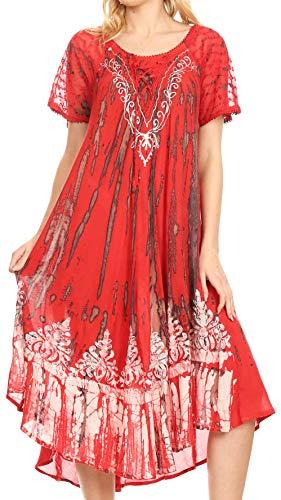 Sakkas 16601 - Ronny Lace Besticktes Cap Ärmel Krawatte Dye Wash Kaftan Kleid/Cover Up - Rot/Schwarz - OS