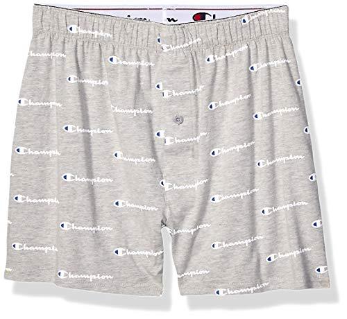 Champion Herren C Script Knit Boxer Boxershorts, Oxford-Grau, Large
