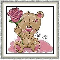 クロスステッチ刺繍 キット40x50cm DIY かわいいクマの体の花 初心者刺しゅうキット11CTプリント済みキャンバスクロスステッチの布刺繍キット手作り家具の装飾 針仕事(フレームレス)