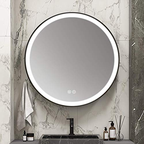 MIAOHUI - Espejo de baño inteligente con iluminación LED, espejo redondo regulable, retroiluminado, con interruptor táctil integrado con función antivaho, marco negro con tres luces de color, espejo de tocador de 61 cm