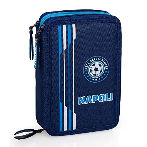 INACIO Napoli Azzurri Schulkoffer MEHRERE FÄLLE 3 Zip COLOR MARKER BRUSHES Giotto CM.20X13X6-99324
