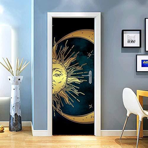 KEXIU 3D Sol dorado y luna sobre negro PVC fotografía adhesivo vinilo puerta pegatina cocina baño decoración mural 77x200cm