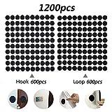 600 Pares Velcr Adhesivo Redondo, Lunares Adhesivo 10mm Velcr Adhesivo Cintas Autoadhesivo Puntos Pegajoso Monedas Puntos (Negro)