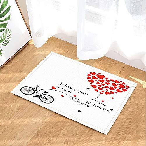 Valentijnsdag decoratieve fiets met hartvormige ballon I love you Kinderbadkamer tapijt toiletdeur mat woonkamer 40X60CM badkameraccessoires