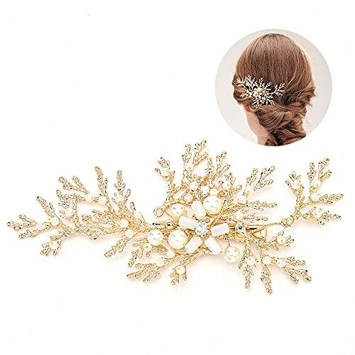 Furado Adorno para el pelo de boda dorado de cristal para novia con hojas y perlas doradas, joya de novia para mujeres y niñas, perfecto como joya nupcial