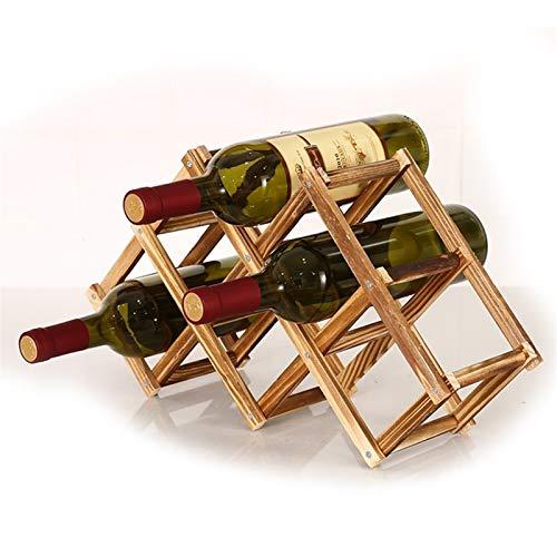 LYQQQQ Estante de Vino de Madera Maciza Creativa Plegable Madera sólido Vino decoración 24.5x44x12cm (Color : B)