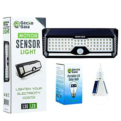 GECKO GAIA Motion Sensor Solar Lights Outdoor: LED Flood Light for Home Security - Wireless Solar Powered Spotlight for Garden, Yard, Deck, Patio or Outside Pathway - Plus Free LED Solar Bulb.