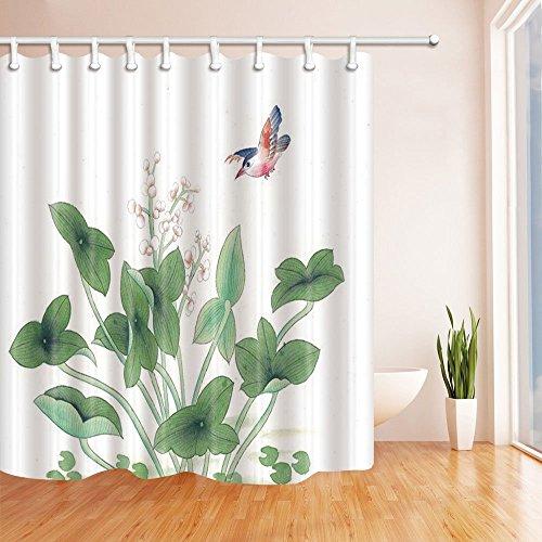 LRSJD bloemendecoratie aquarel vogel vliegen op groene planten douchegordijn 71X71 inch polyesterweefsel badkamer fantastische decoraties badgordijnen haken inbegrepen