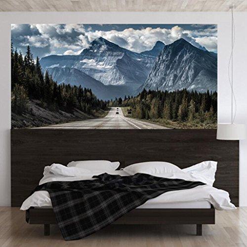 Lozse 3D Kreativer Highway Snow Mountain Bedside Wandaufkleber Aufkleber