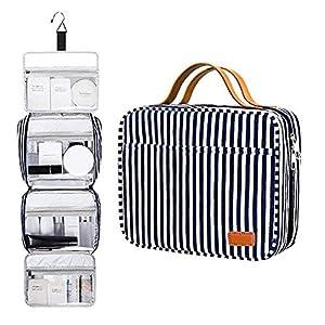 Bolsa de cosméticos impermeable portátil de 4 capas para colgar + 1 gancho resistente, Bolsa de acabado productos para cuidado la piel, ideal para viajes o uso diario