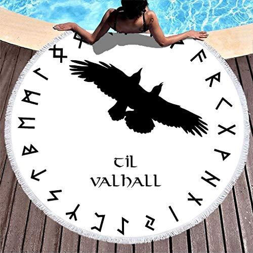 Negro vikingo cuervos escandinavos runas círculo tatuaje impresión redonda playa con borlas voladores corbatas nordico mitología playa manta celta flecos toalla de playa 150 cm blanco