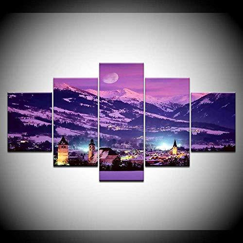 Canvas schilderij Kitzbühel stadsgezicht landschap 5 stuks muurkunst schilderij modulaire behang poster print woonkamer decoratie 30x40cmx2 30x60cmx2 30x80cmx1 Met frame.
