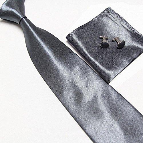Cravate + Pochette + Bouton de Manchettes Satinée - Gris Foncé - Neuf