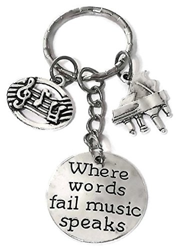 Piano Keychain, Music Keychain, Music Note Keychain, Musical Instrument Keychain, Piano Key Ring, Music Key Ring