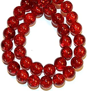 Zoya Gems & Jewellery Red 8mm Round Crackle Crystal Beads 20-inch Strand Necklace