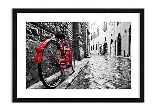 Imagen en un marco de madera de color negro - Imagen en un marco - Cuadro sobre lienzo - Calle bicicletas adoquines edificio - 70x50cm - Impresión en lienzo - Imagen Impresión - F1BAA70x50-3186