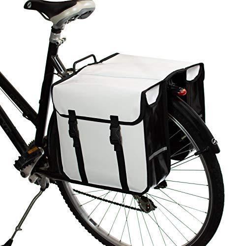 BikyBag - Doble Alforjas para Bicicletas Impermeables (Blancas)
