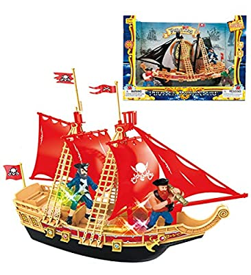 Mozlly Pirate Ship Boat Play Set with Lights & Sound Durable Colorful Educational Learning Creative Action Figure Toy Pretend Play Accessories Ideal Gift Toys Games 11.5 Inch Colors May Vary