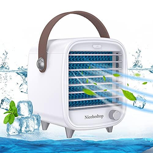 Nicehedtop 4 In 1 Mini Condizionatore Portatile USB,Ventilatore Climatizzatore Umidificatore,Mini Raffreddatore D'Aria Evaporativo Con LED