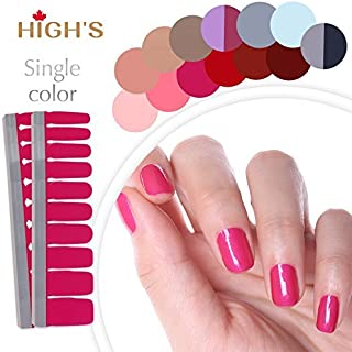 HIGH'S Upgrade EXTRE ADHESION Nail Wraps Decals Art Transfer Sticker Collection Manicure DIY Fullnail Polish patch Strips for Wedding, Party, Shopping, Travelling, 20pcs(Dark Salmon)