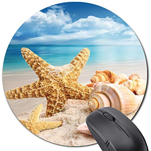 Round Mouse Pad Ocean Sand Shell Starfish, Cute Gaming Mousepad for Computer,Teacher and Office Friend Gift