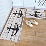 Kitchen Rug and Mats, Nautical Anchor Sketch Gray-White Rustic Striped Wooden Kitchen Floor Mats 2 Piece PVC Leather Standing Mats Waterproof Non Slip Kitchen Rugs and Runner Sets, 18' x 30'+18' x 48'