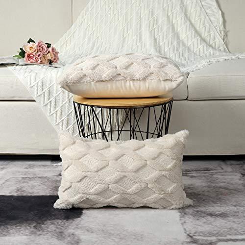Madizz 2er Set Sanft Plüsch Kurze Wolle Samt Dekorativ Zierkissenbezüge Stil Kissenbezug für Sofa für Schlafzimmer Beige 40x80 cm Rechteckig