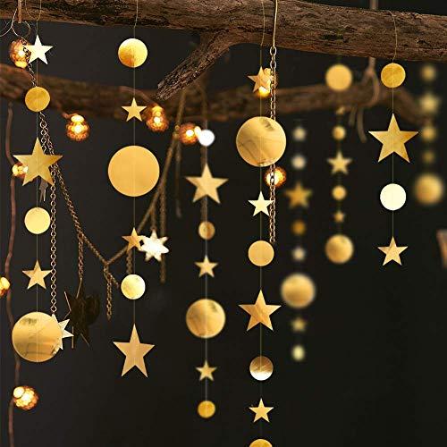 16M Decorazioni di Stelle e Cerchi Ghirlanda di Stella e Ghirlanda Punto Cerchio Decorazioni Appendere in Carta Glitter, Bandierine per Feste Matrimoni Anniversari Compleanni Battesimo Natale,Oro