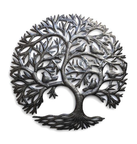 Haitian Tree of Life Wall Decor, Global Art Made in Haiti, Oil Drum Metal Craft with Birds, Decoration for Kitchen or Anywhere in Home, 23 In. x 23 In. (Whispering Tree)