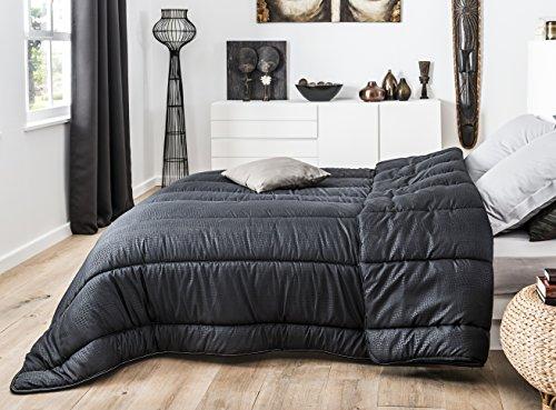L&M J&K Markets - Couette Noire 220x240cm 100% Microfibre 450gr/m² Effet Crocodile