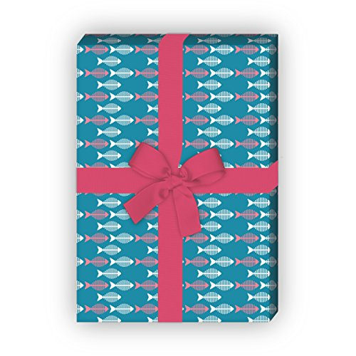 Kartenkaufrausch Retro Geschenkpapier Set mit kleinen Fischen für tolle Geschenk Verpackung, Designpapier, scrapbooking, 4 Bögen, 32 x 48cm Dekorpapier, Musterpapier zum Einpacken