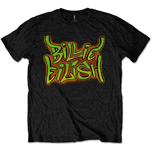 Billie Eilish - Camiseta Oficial de Graffiti, Color Negro Negro Negro (M