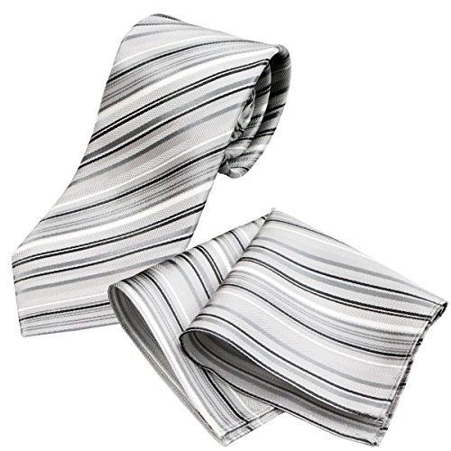 (グランクレエ) 日本製 結婚式用シルクネクタイ&チーフセット 白 シルバー グレー ふじやま織 (マルチストライプ/シルバー)