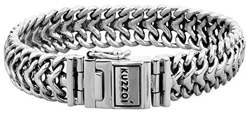 Kuzzoi Silber-Armband für Herren, handgefertigtes Buddha Panzer-Armband aus echtem, massiven 925er Sterling Silber, luxuriöses Herren-Armband Gravur, 15mm breit, 60 g schwer 335108-021