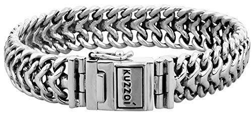 "Kuzzoi ""Buddha"" Silber-Armband für Herren, handgefertigtes Panzer-Armband aus echtem, massiven 925er Sterling Silber, luxuriöses Herren-Armband Gravur, 15mm breit, 60 g schwer 335108-019"