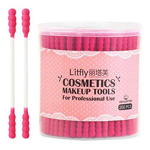 200 Pcs Cosmétiques Outils de maquillage Coton-Absorbent Cotton Swab -Rose