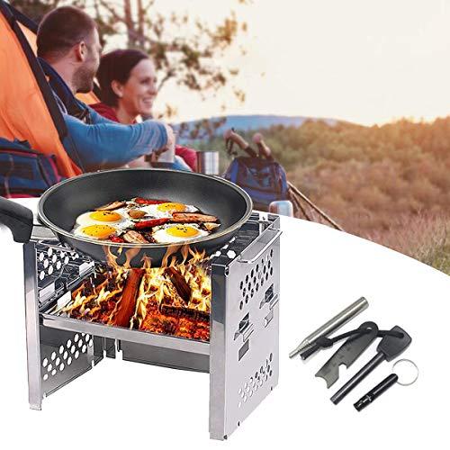 Hornillo de camping plegable, horno de madera, con kit de iniciación de fuego de supervivencia, bolsa de transporte para excursiones al aire libre, camping, senderismo, viajes, picnic, barbaco