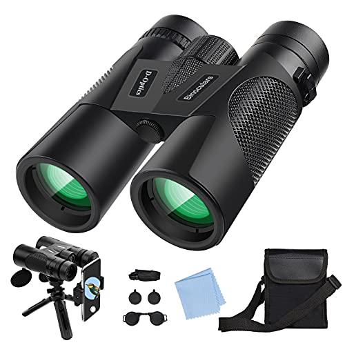 Prismáticos 12x42 HD Binoculares con Prismas BaK4 y FMC, Trípode y Adaptador para Teléfono, Compacto Telescopio para Observación de Aves, Caza, Senderismo, Camping y Evento Deportivo